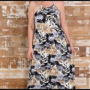 Summer Halter Maxi Beach Dress Tan Black White